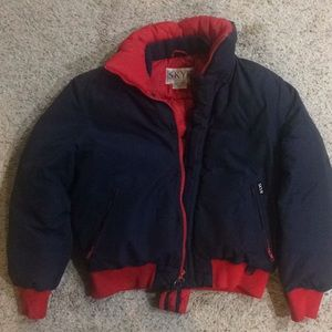 Vtg SKYR Puffy Ski Jacket Men's Lg  Navy/Red Down